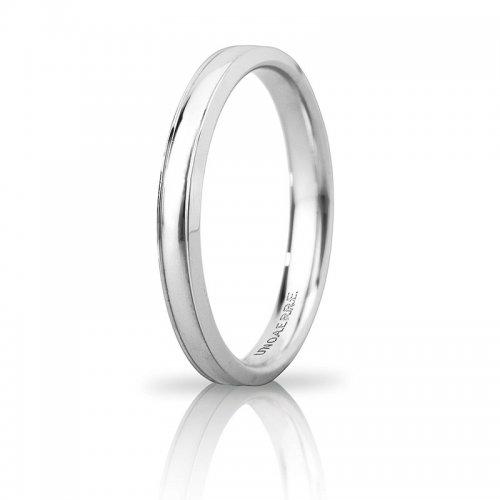Unoaerre Orion wedding ring slim White gold Brilliant Promises