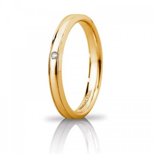 Fede Nuziale Unoaerre Orion slim con diamante Oro giallo Brillanti Promesse