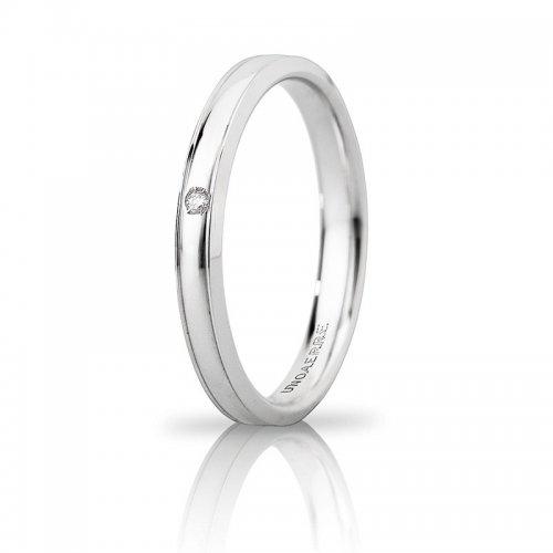 Unoaerre Orion wedding ring slim with diamond White gold Brilliant Promises