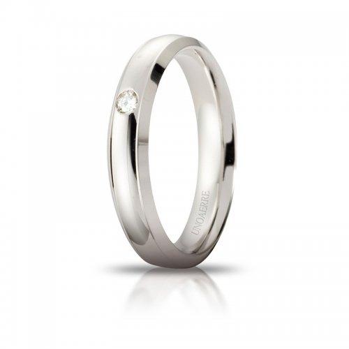 Fede Nuziale Unoaerre Orion Oro bianco con diamante Brillanti Promesse