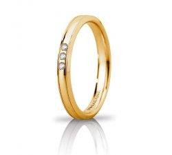 Unoaerre Orion wedding ring slim 3 diamonds Yellow gold Brilliant Promises