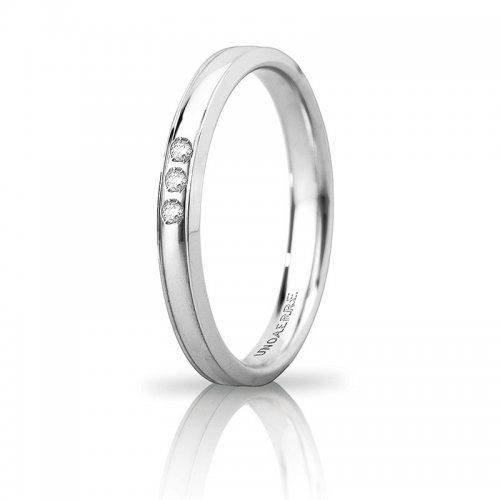 Unoaerre Orion wedding ring slim 3 diamonds White gold Brilliant Promises