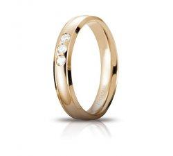 Fede Nuziale Unoaerre Orion Oro giallo 3 diamanti Brillanti Promesse