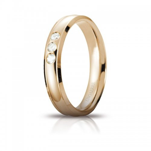 Unoaerre Orion Wedding Ring Yellow Gold 3 Diamonds Brilliant Promises