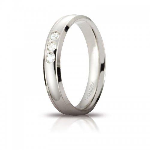 Fede Nuziale Unoaerre Orion Oro bianco 3 diamanti Brillanti Promesse