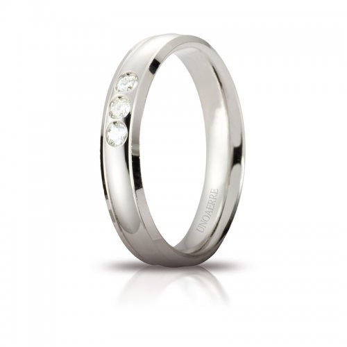 Unoaerre Orion Wedding Ring White Gold 3 Diamonds Brilliant Promises