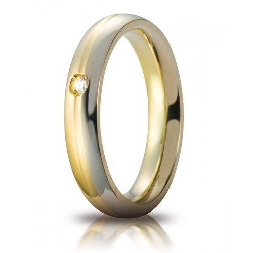 Unoaerre wedding ring Eclissi model with two-tone gold diamond