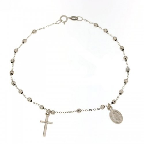 Rosary Bracelet White Gold Miraculous Madonna 803321713241