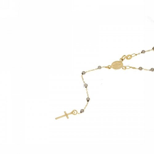 Miraculous Madonna Yellow White Gold Rosary Necklace 803321716849
