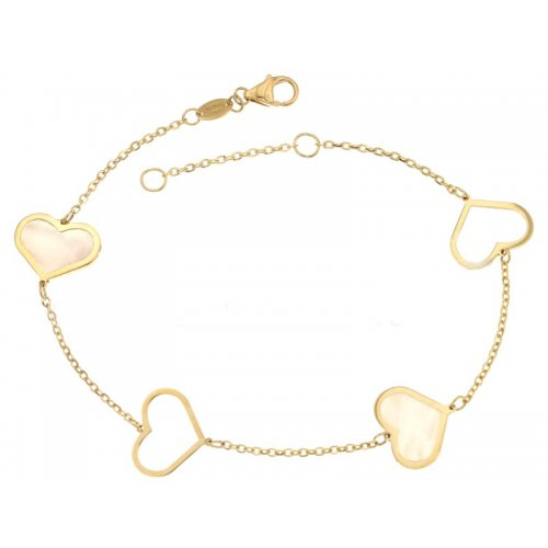 Yellow gold women's bracelet with hearts 803321733398