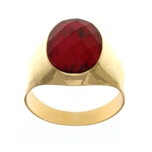 Yellow Gold Men's Ring with Red Stone 803321705254