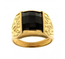 Yellow Gold Men's Ring with Black Stone 803321702179