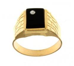 Anello Uomo in Oro Giallo con Pietra Nera 803321715385