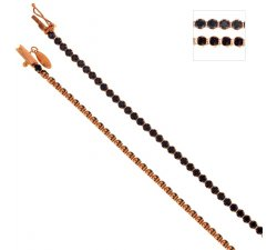 Rose gold tennis bracelet with black stones 803321726505