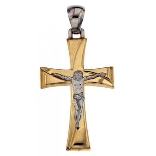 Croce da uomo in Oro Giallo e Bianco 803321731718