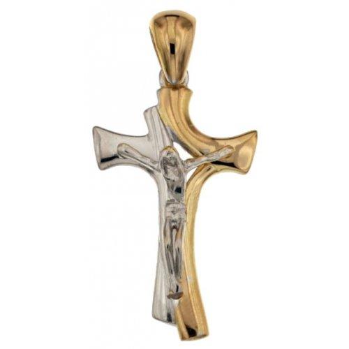 Yellow and White Gold Men's Cross 803321731761