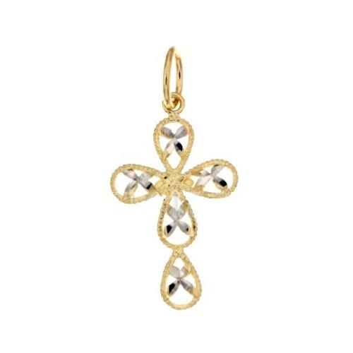 Croce da donna in Oro Giallo e Bianco 803321703007