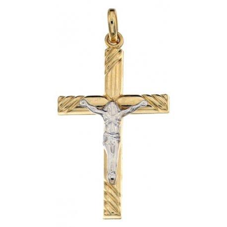 Yellow and White Gold Men's Cross 803321713032