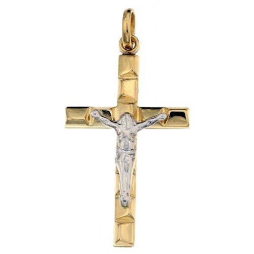 Yellow and White Gold Men's Cross 803321713033
