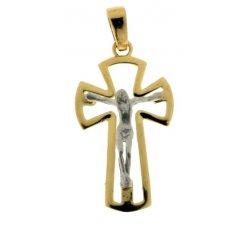 Yellow and White Gold Men's Cross 803321714064