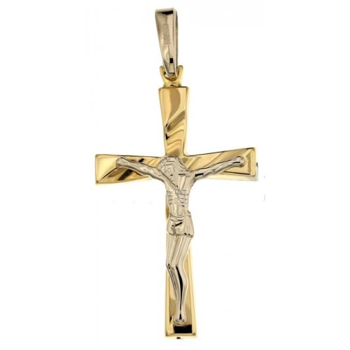 Yellow and White Gold Men's Cross 803321733569