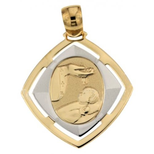 Yellow and White Gold Baptism Medal Pendant 803321710090