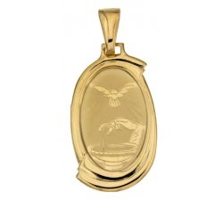 Yellow Gold Baptism Medal Pendant 803321710093