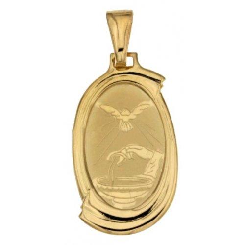 Yellow Gold Baptism Medal Pendant 803321710093