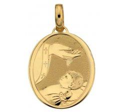 Yellow Gold Baptism Medal Pendant 803321704381