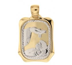 Yellow and White Gold Baptism Medal Pendant 803321700929