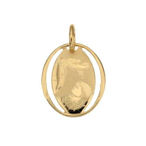 Yellow Gold Baptism Medal Pendant 803321714869