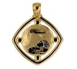 Yellow Gold Baptism Medal Pendant 803321714896