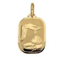 Yellow Gold Baptism Medal Pendant 803321712074