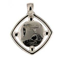White Gold Baptism Medal Pendant 803321714902