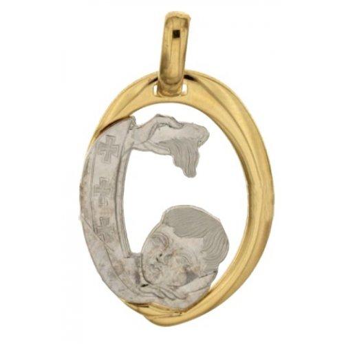 Medaglia Ciondolo da Battesimo Oro Giallo Bianco 803321714908