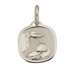 Medaglia Ciondolo da Battesimo Oro Bianco 803321714914