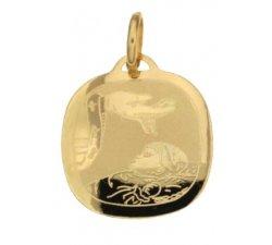Yellow Gold Baptism Medal Pendant 803321714922
