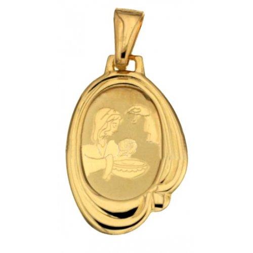 Yellow Gold Baptism Medal Pendant 803321714962