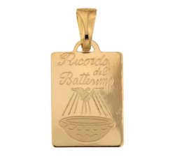 Yellow Gold Baptism Medal Pendant 803321730869