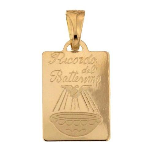 Yellow Gold Baptism Medal Pendant 803321730869