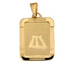 Yellow Gold Baptism Medal Pendant 803321714979