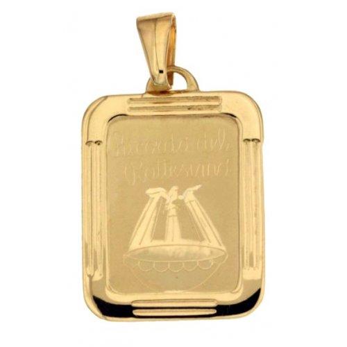 Yellow Gold Baptism Medal Pendant 803321714979