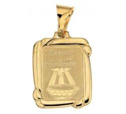 Yellow Gold Baptism Medal Pendant 803321714983