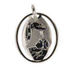 White Gold Baptism Medal Pendant 803321714873