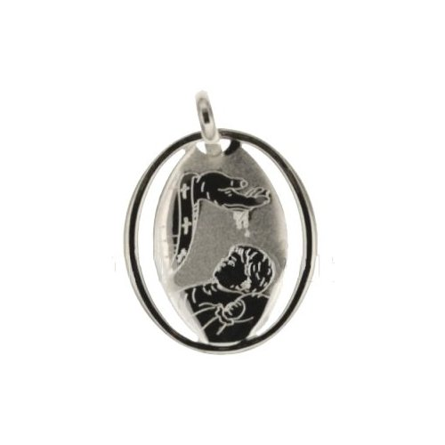Medaglia Ciondolo da Battesimo Oro Bianco 803321714873