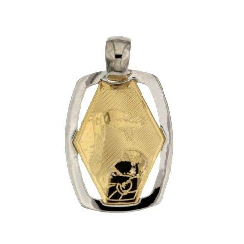 Yellow White Gold Baptism Medal Pendant 803321706067