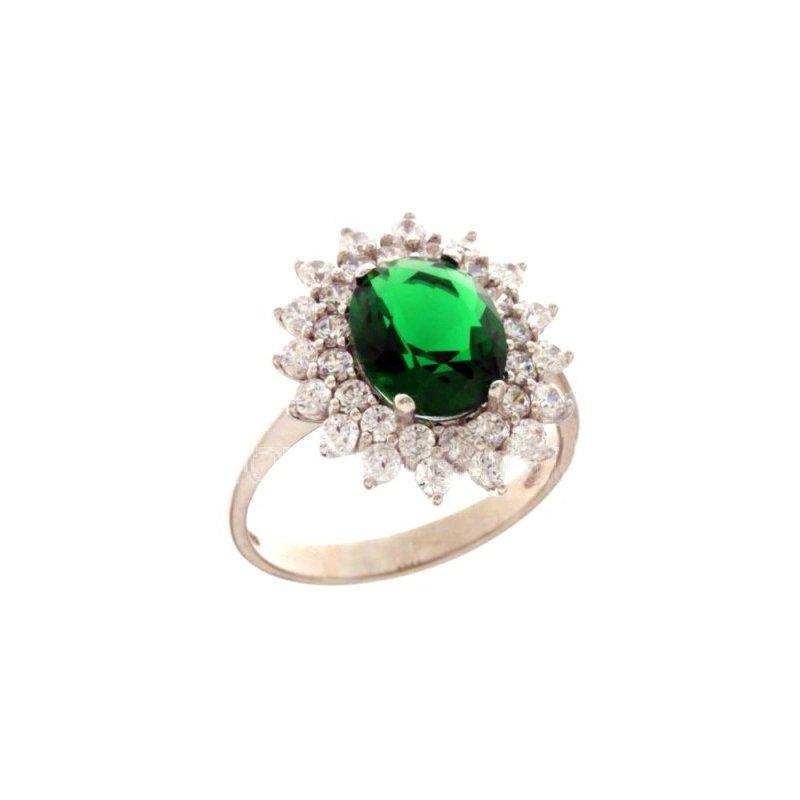 nuovi stili 3684a 8fdf8 Anello Donna Oro Bianco Pietra Verde 803321732005 - GioielleriaLucchese.it