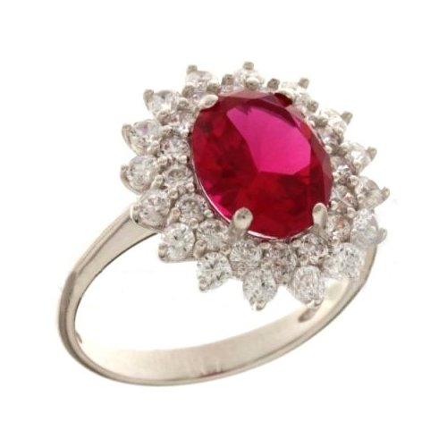 Woman Ring White Gold Red Stone 803321732003