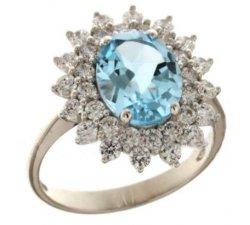 Anello Donna Oro Bianco Pietra Azzurra 803321732006