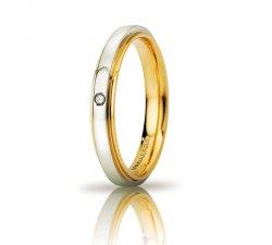 Fede Nuziale UNOAERRE Cassiopea Slim con diamante 3mm Oro giallo bianco Brillanti Promesse